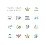 Sinais sociais da rede - linha fina ícones ajustados Fotografia de Stock Royalty Free