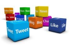 Sinais sociais da Web dos meios em cubos Foto de Stock Royalty Free