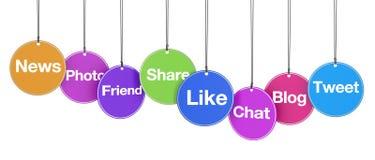 Sinais sociais da Web dos meios em etiquetas Fotografia de Stock Royalty Free
