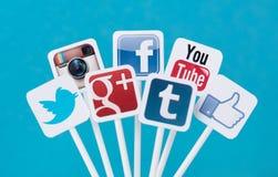 Sinais sociais dos meios Foto de Stock