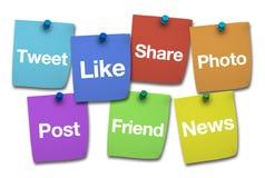 Sinais sociais dos meios no post-it Imagem de Stock