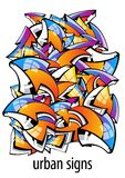 Sinais urbanos. fundo abstrato colorido Imagens de Stock