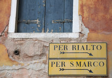 Sinais Venetian Foto de Stock