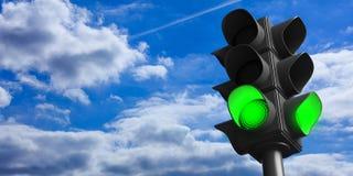 Sinais verdes no fundo do céu azul, espaço da cópia ilustração 3D ilustração stock