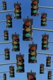 Sinais vermelhos, amarelos e verdes Fotografia de Stock Royalty Free