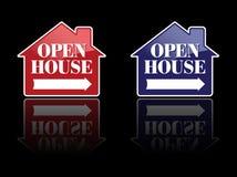 Sinais vermelhos e do azul da casa aberta Foto de Stock