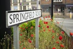 Sinal 'estrada do nome da rua de Springfield 'em Grantham, Reino Unido fotografia de stock
