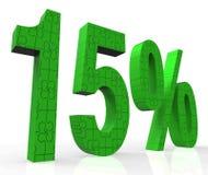 Sinal 15 que mostra quinze fora das vendas e do preço reduzido Imagens de Stock Royalty Free