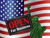 Sinal aberto da parada programada do governo com estátua da liberdade Imagem de Stock