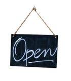 Sinal aberto de suspensão isolado Imagens de Stock