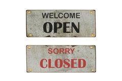 Sinal aberto e fechado da porta Imprima com s?mbolo da cor para a loja, loja, caf?, hotel, escrit?rio imagens de stock royalty free