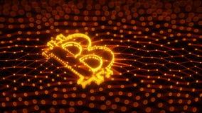 Sinal abstrato de Bitcoin construído como uma disposição de transações na ilustração 3d conceptual de Blockchain Imagem de Stock