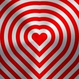 Sinal abstrato vermelho do coração na textura do metal Ilustração Stock