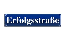 Sinal alemão do nome da rua - Erfolgstrasse Foto de Stock