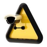 Sinal alerta do cctv da câmera isolado Fotografia de Stock