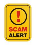 Sinal amarelo alerta de Scam Imagens de Stock