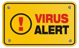 Sinal amarelo alerta do vírus - sinal do retângulo Imagens de Stock Royalty Free