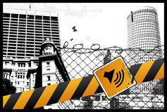 Sinal amarelo da cidade ilustração stock