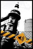 Sinal amarelo da cidade Imagem de Stock