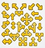 Sinal amarelo da seta Imagens de Stock Royalty Free