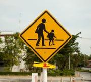 sinal amarelo da zona da escola Fotografia de Stock