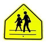 Sinal amarelo do crosswalk Fotos de Stock Royalty Free
