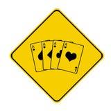 Sinal amarelo do póquer Fotografia de Stock