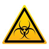 Sinal amarelo do triângulo do Biohazard ilustração royalty free
