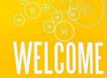 Sinal amarelo e branco com BOA VINDA da palavra e projeto do botão Fotografia de Stock Royalty Free