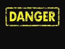 Sinal amarelo e preto do estilo de Grunge do perigo Foto de Stock Royalty Free