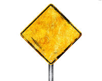 Sinal amarelo em branco Fotos de Stock