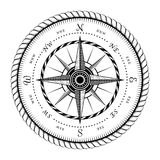 Sinal antigo do vento Rose Engraving Stylized ilustração royalty free
