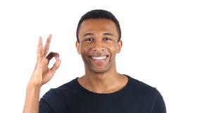Sinal aprovado pelo homem negro Imagens de Stock