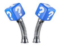 Sinal ativo da pergunta em uma mola Um problema repentino Imagem de Stock Royalty Free