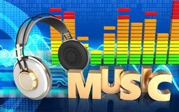 sinal audio da música do espectro 3d Imagens de Stock