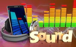sinal audio 'do som' do espectro 3d Imagens de Stock