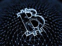 Sinal azul abstrato de Bitcoin construído como uma disposição de transações na ilustração 3d conceptual de Blockchain Imagem de Stock Royalty Free