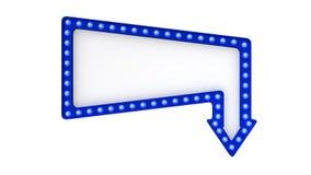 Sinal azul da placa da luz do famoso retro no fundo branco rendição 3d imagem de stock royalty free