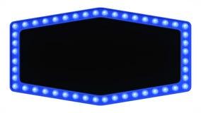 Sinal azul da placa da luz do famoso retro no fundo branco rendição 3d imagens de stock royalty free