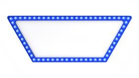 Sinal azul da placa da luz do famoso retro no fundo branco rendição 3d fotografia de stock royalty free