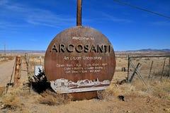 Sinal bem-vindo a Arcosanti Foto de Stock
