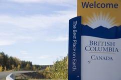 Sinal bem-vindo de Canadá do Columbia Britânica Fotografia de Stock