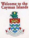 Sinal bem-vindo de Cayman Islands Fotos de Stock
