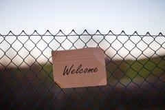 Sinal bem-vindo do refugiado Imagem de Stock