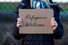 Sinal bem-vindo do refugiado Fotos de Stock Royalty Free