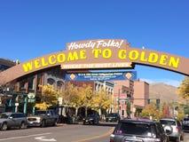 Sinal bem-vindo dourado de Colorado imagem de stock royalty free