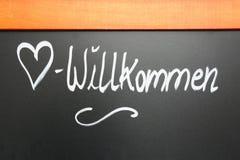 Sinal bem-vindo em um quadro, Alemanha Foto de Stock