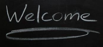 Sinal bem-vindo em uma placa preta Imagem de Stock