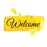 Sinal bem-vindo Ilustração da aguarela Fotos de Stock