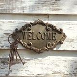 Sinal bem-vindo na parede. fotos de stock royalty free